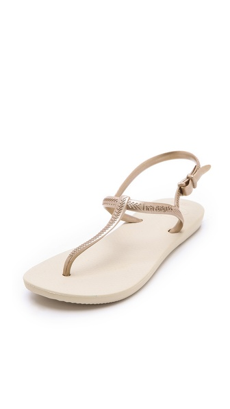 Havaianas Freedom T-Strap Sandals - Sand Grey/Light Golden at Shopbop / East Dane