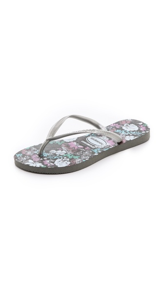 Havaianas Slim Floral Flip Flops - Grey at Shopbop / East Dane