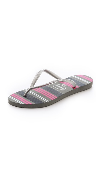 Havaianas Slim Neon Stripe Flip Flops - Grey at Shopbop / East Dane