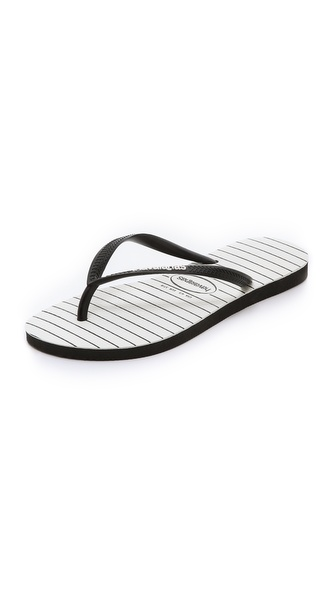 Havaianas Slim Pinstripe Flip Flops - Black at Shopbop / East Dane