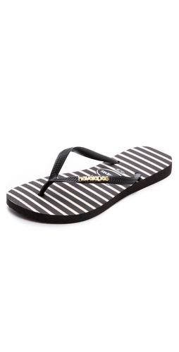 Havaianas Slim Stripe Metal Logo Flip Flops at Shopbop / East Dane