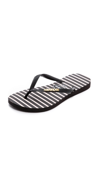 Havaianas Slim Stripe Metal Logo Flip Flops - Black at Shopbop / East Dane
