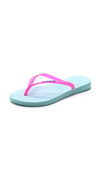 Havaianas Slim Logo Flip Flops - Acqua at Shopbop / East Dane
