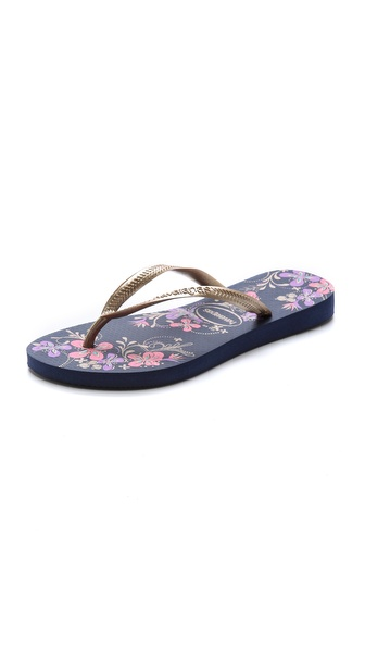 Havaianas Slim Season Flip Flops - Navy Blue/Gold at Shopbop / East Dane