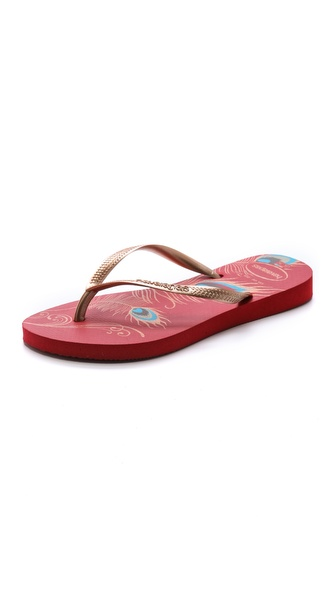Havaianas Slim Peacock Flip Flops - Red at Shopbop / East Dane