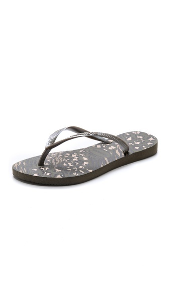 Havaianas Slim Animal Print Flip Flops - Dark Khaki at Shopbop / East Dane