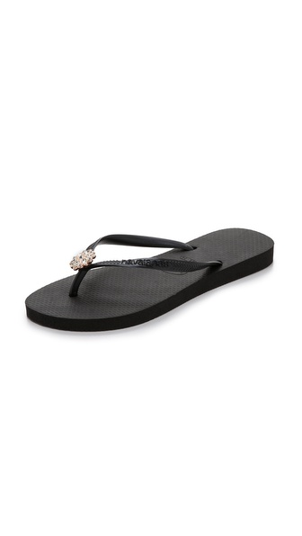 Havaianas Slim Crystal Poem Flip Flops - Black/Black at Shopbop / East Dane