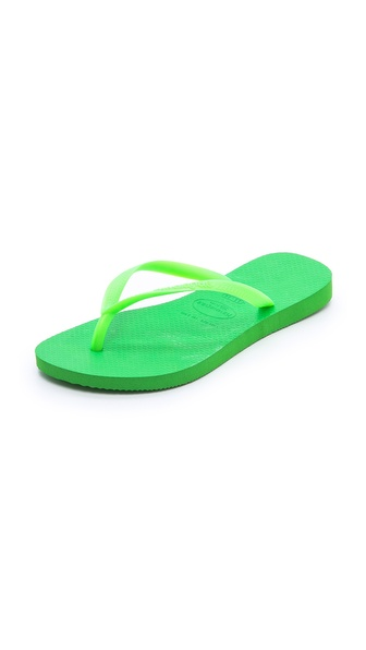 Havaianas Slim Fluoro Flip Flops - Neon Green at Shopbop / East Dane
