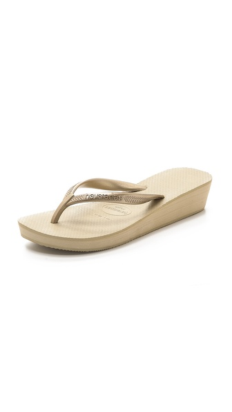 Havaianas High Light Wedge Flip Flops - Sand Grey/Light Golden at Shopbop / East Dane