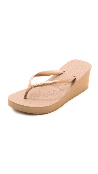 Havaianas High Fashion Wedge Flip Flops - Rose Gold at Shopbop