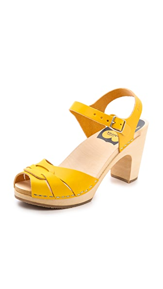 Swedish Hasbeens Peep Toe High Sandals