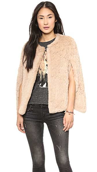 H Brand Stella Hand Knit Rabbit Fur Cape