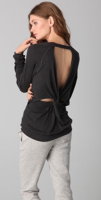 Heather Long Sleeve Knot Back Top