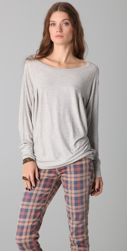 Heather Draped Boat Neck Tee