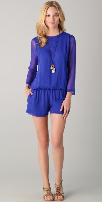 Heather Long Sleeve Chiffon Romper