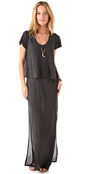 Heather Asymmetrical Double Tee Maxi Dress