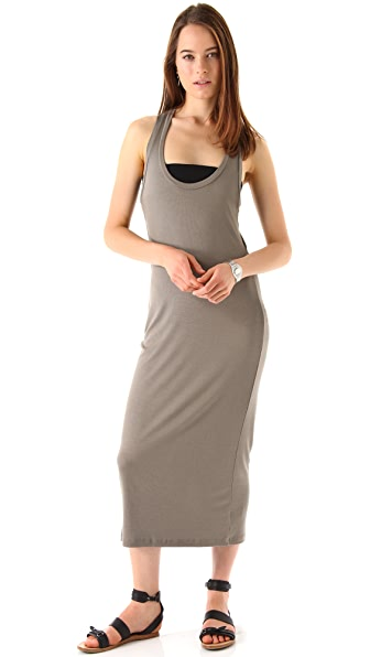 Heather Rib Flutter Back Maxi Dress