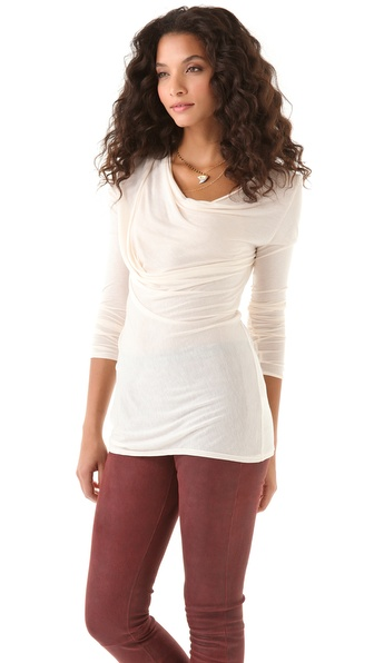 Heather Long Sleeve Cowl Top