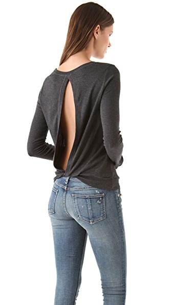 Heather Open Back Tee