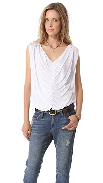 Heather Shirred Double V Neck Top