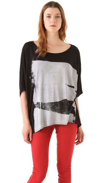 HELMUT Helmut Lang Bar Print Wide Tee