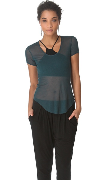 HELMUT Helmut Lang Voltage Rib Scoop Neck Tee