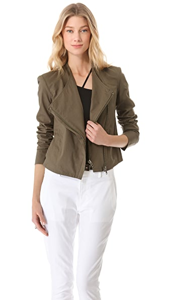 HELMUT Helmut Lang Washed Bellow Poplin Draped Moto Jacket