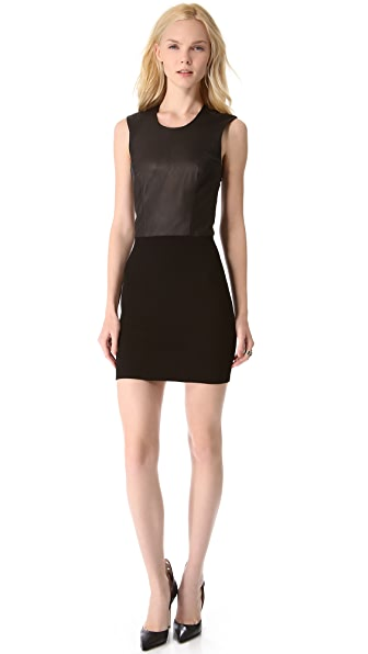 HELMUT Helmut Lang Gala Knit & Leather Dress