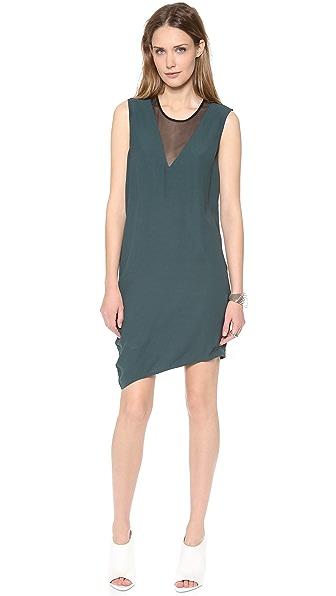 HELMUT Helmut Lang Nexa Draped Dress with Mesh