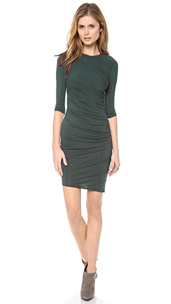 HELMUT Helmut Lang Nova Jersey Ruched 3/4 Sleeve Dress
