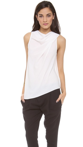 HELMUT Helmut Lang Dry Crepe Boat Neck Pleated Blouse