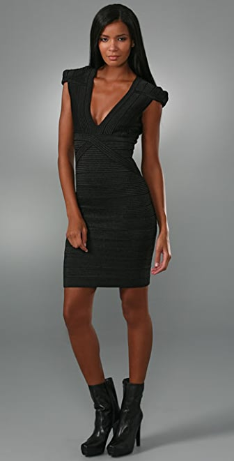 Herve Leger Runway Beaded Bandage Dress