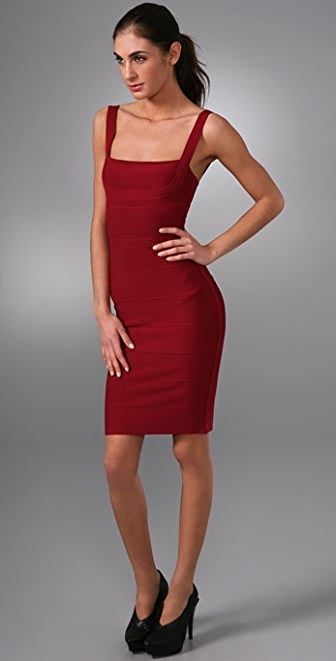 Herve Leger Lady In Red Bandage Cocktail Dress