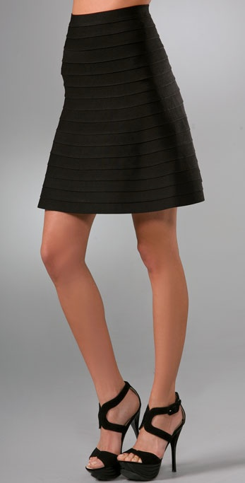 Herve Leger Signature Essentials A Line Skirt