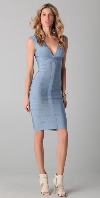 Herve Leger Novelty Essentials V Neck Cocktail Dress