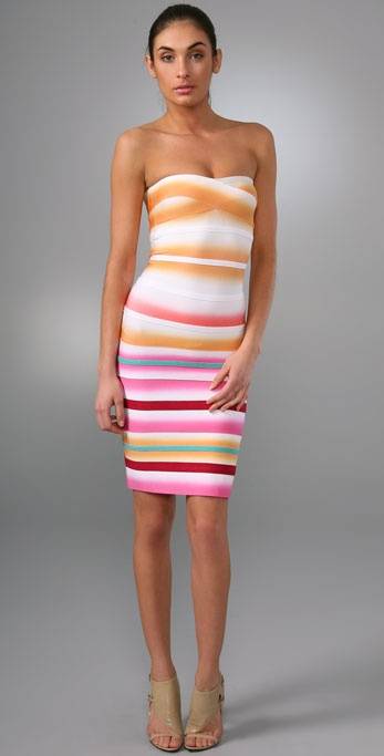 Herve Leger Airbrush Stripe Strapless Cocktail Dress