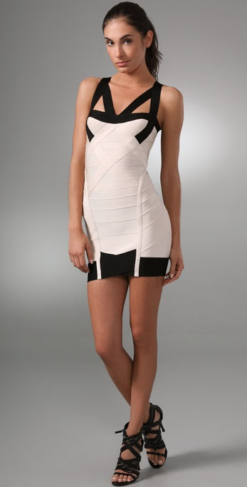 Herve Leger Colorblock Cocktail Dress
