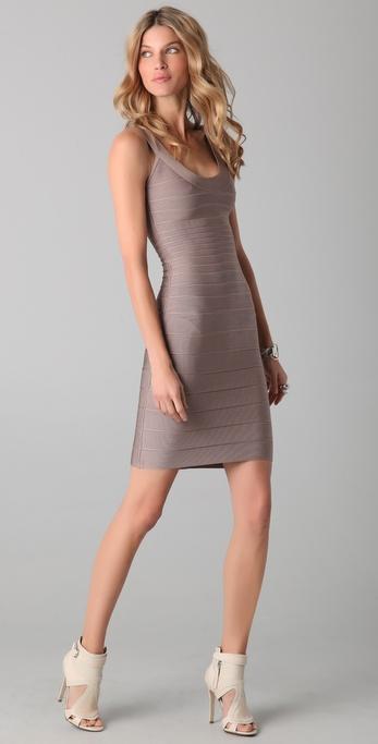 Herve Leger Signature Essentials Scoop Neck Dress