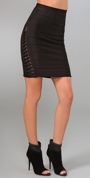 Herve Leger Lacing & Mesh Skirt