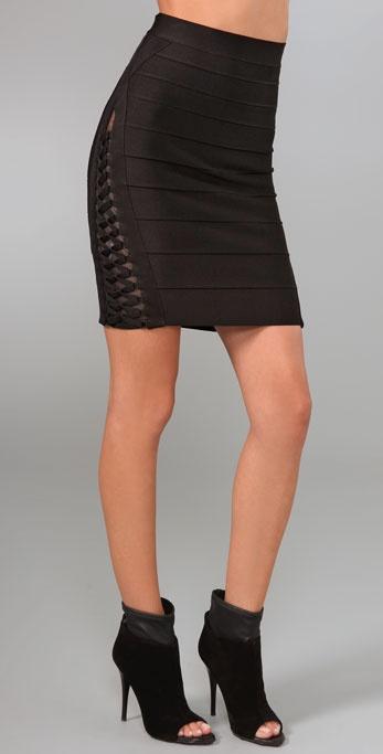 Herve Leger Lacing & Mesh Skirt