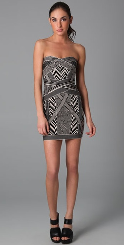 Herve Leger Geometric Jacquard Dress