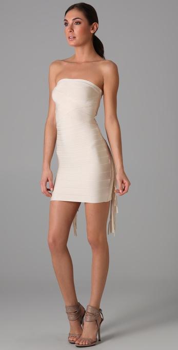 Herve Leger Strapless Dress with Fringe Detail