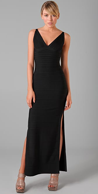 Herve Leger Long V Neck Dress