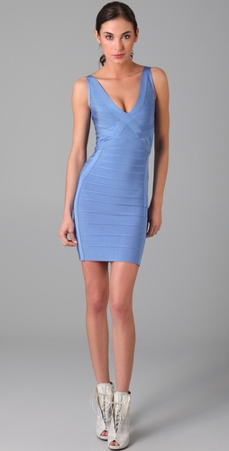 Herve Leger Above the Knee V Neck Dress