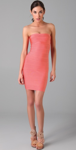 Herve Leger Above the Knee Strapless Dress