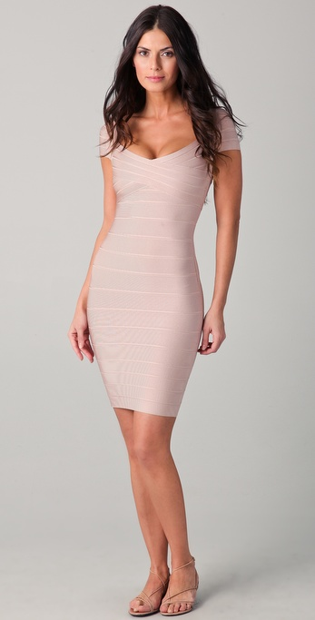 Herve Leger Knee Length Sweetheart Dress