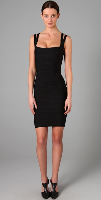 Herve Leger Knee Length Square Neck Dress