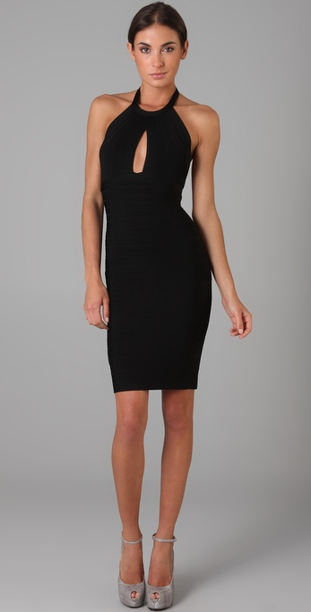 Herve Leger Keyhole Halter Dress