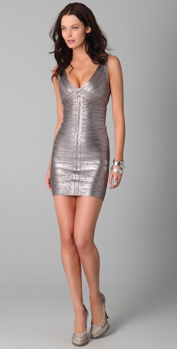 Herve Leger Metallic Foil V Neck Dress