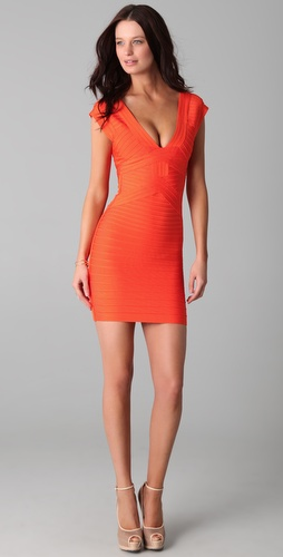 Herve Leger V Neck Dress with Cut Out Detail